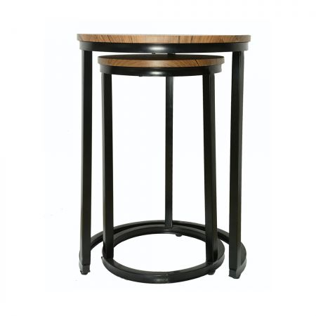 Plymouth Nest Tables Black Frame-Distressed Tops