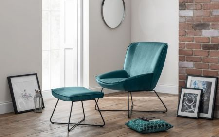 Feza Velvet Accent Chair & Stool
