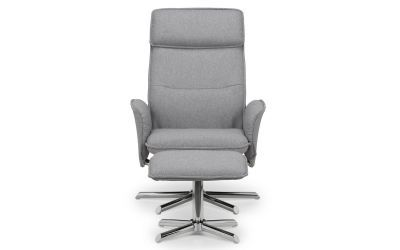 Arisi Recliner & Stool With Chrome Base - Grey Linen