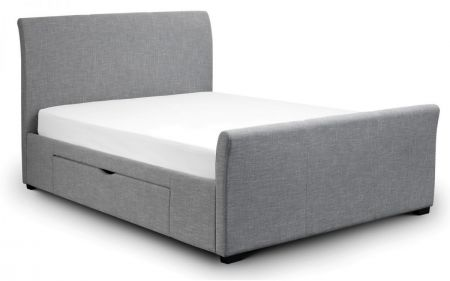 Cipris Fabric Storage Bed With Drawers Light Grey