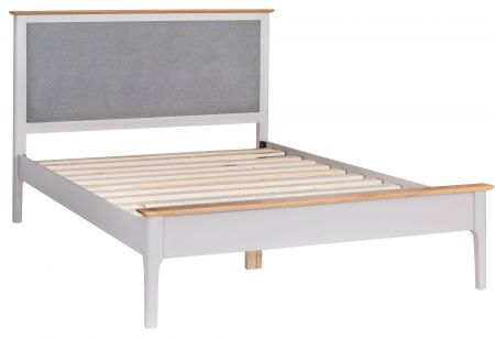 Nuton Bed Frame With Fabric Headboard Grey