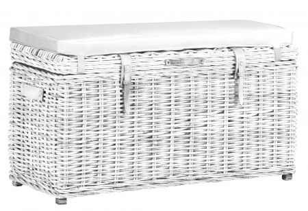 Wicker Mix Rectangular Wicker Trunk Bench With, Cushion, Leather Straps & Handles