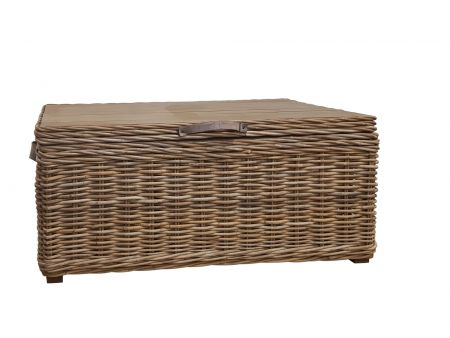 Wicker Mix Wicker Rectangular Trunk With Leather Handles & Metal Hinges
