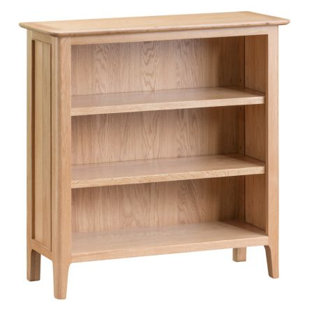 Nosten Wooden Small Wide Bookcase Oak