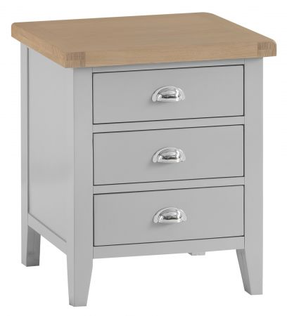 Trent Extra Large 3 Drawer Bedside Table Grey
