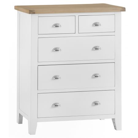 Trent 2 Over 3 Chest Of Drawers White