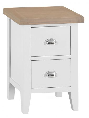 Trent Small 2 Drawer Bedside Table White