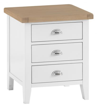 Trent Extra Large 3 Drawer Bedside Table White