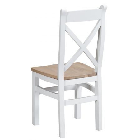 Trent Wooden Cross Back Chair White