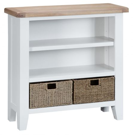 Trent Small Wide Wooden Bookcase White