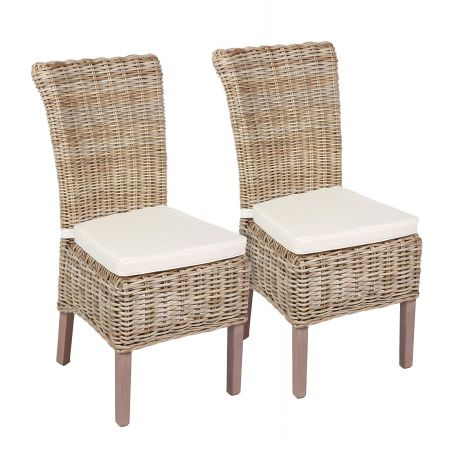 Wicker Mix Wicker Chair With Cushion Grey