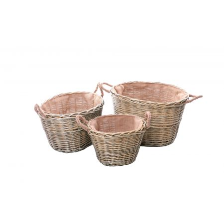 Wicker Mix Set Of 3 Wicker Log Baskets With Rope Ear Handles & Hessian Lining Grey