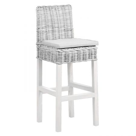 Wenyard Wicker Bar Stool With Cushion In White Wash