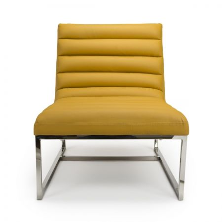 Lillian Leather Match Yellow 2 Armchairs