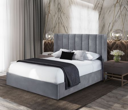 Marion Plush Velvet Fabric Bed