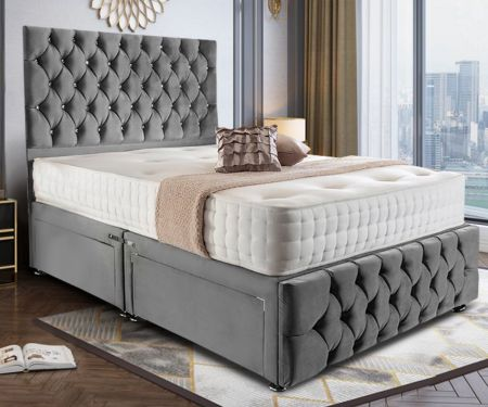 Needham Plush Velvet Divan Bed Frame