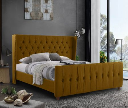 Chasita Plush Velvet Fabric Bed Frame