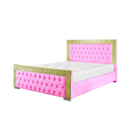 Benisa Faux Leather Pink Bed Frame