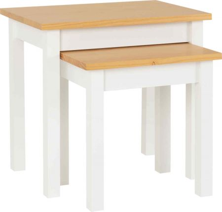 Lennard Nest of Tables White and Oak Lacquer