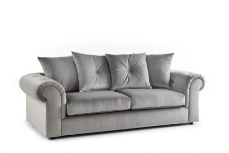 Demir Plush Velvet Sofa - Grey