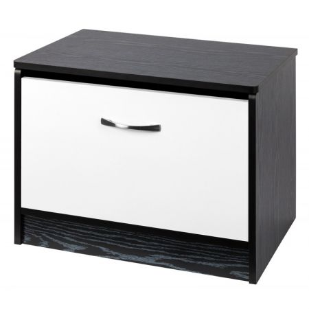 Marina White Gloss & Black Ottoman Storage