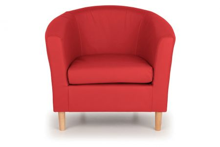 Nicole Faux Leather Tub Chair - Red