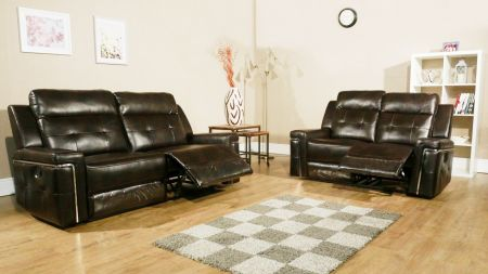 Trixia Brown Leather Recliner Sofa Set