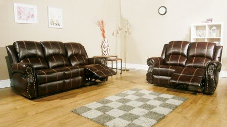 Studs Brown Leather Recliner Sofa