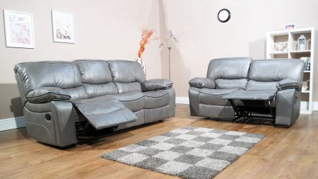 Vicenza Grey Leather Recliner Sofa