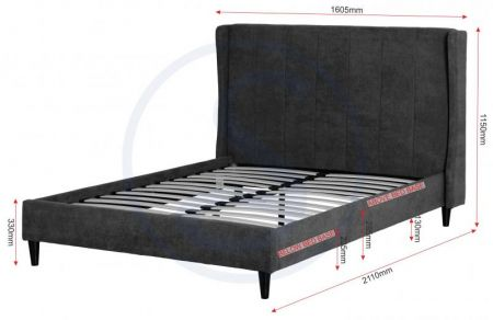 Archer Bed in Dark Grey Fabric