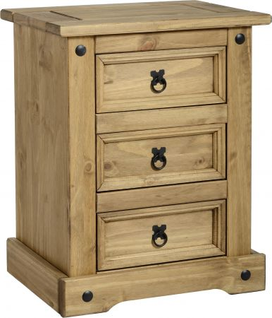 Darwin 3 Drawer Bedside Chest in Pine
