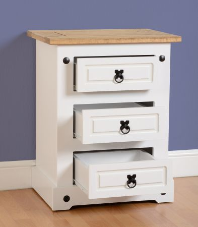 Darwin 3 Drawer Bedside Chest in White & Pine