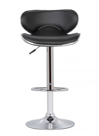 Baron Swivel Bar Chair With Gas Lift in Black & Chrome