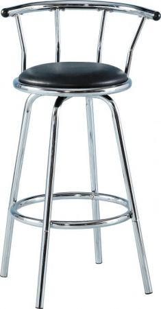 Berkeley Swivel Bar Chair in Black & Chrome