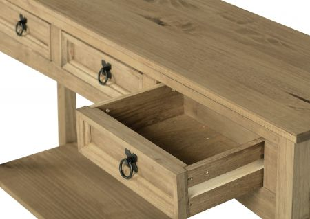 Darwin 3 Drawer Console Table with Shelf in Pine
