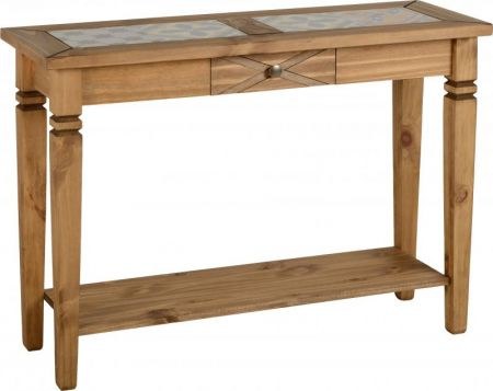 Earl Tile Top Console Table in Distressed Waxed Pine