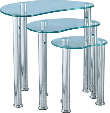 Capri Nest of Tables in Clear Glass & Silver