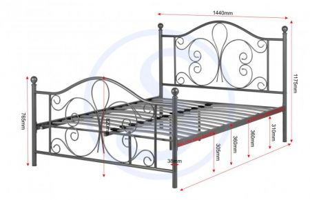Ashley Double Bed in Silver