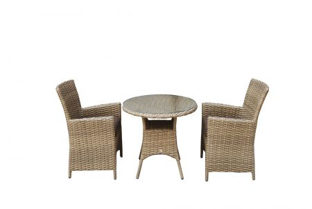Delia 2 Seat Bistro Set With High Back Dining Chairs