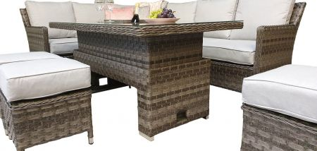 Edawa Corner Dining With Lift Table Multi Grey Wicker