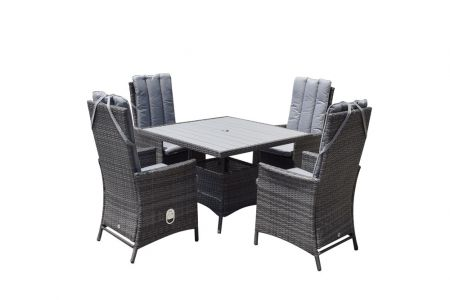 Emira 4 Seat Square Dining Set With Polywood Top