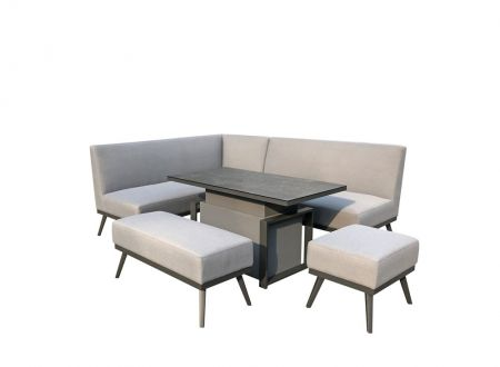 Kerona Fabric Sofa Dining With Gas Lift Table Light Grey