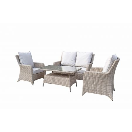 Shanice Grey 4 Seat Sofa Set With New Coffee Table Design