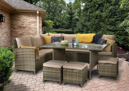 Chanelle Corner Dining In Nature/Brown