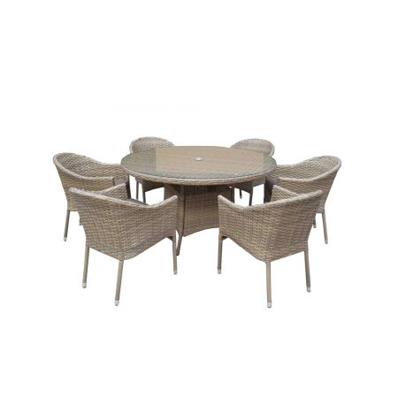 Delia 6 Seater Round Dining Set Nature Stacking Chairs