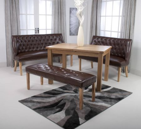 Logan Banquette Medium Leather Match Antique Brown Dining Bench