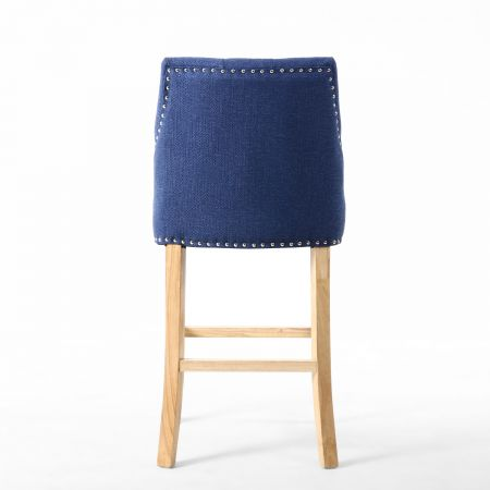 Logan Linen Effect Sapphire Blue Bar Chair
