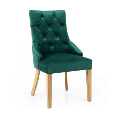 Olivia Brushed Velvet Green 2 Accent Chairs