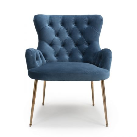 Charlotte Brushed Velvet Caribbean Blue Accent Chair