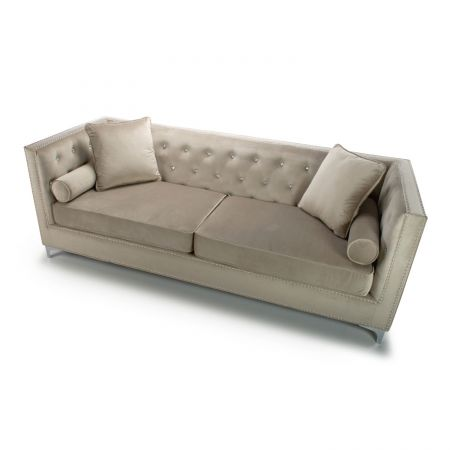 Kennedy Diamante 4 Seater Brushed Velvet Mink Sofa